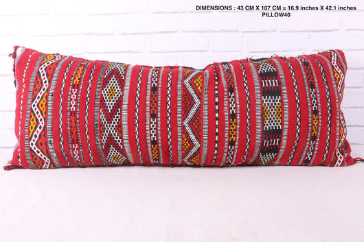 Red, long Moroccan rug pillow