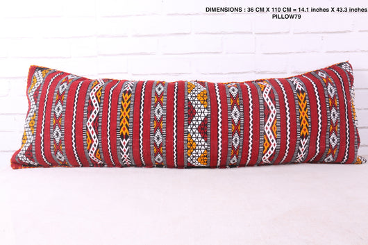 Long embroidered Moroccan rug pillow