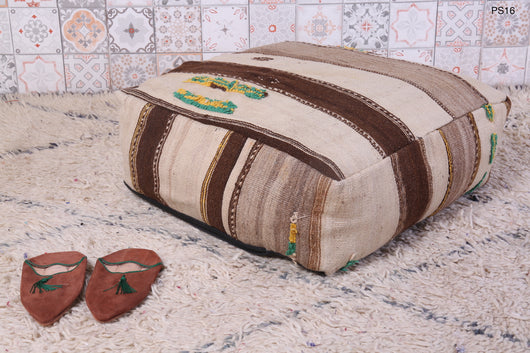 Brown and beige striped Moroccan kilim pouf