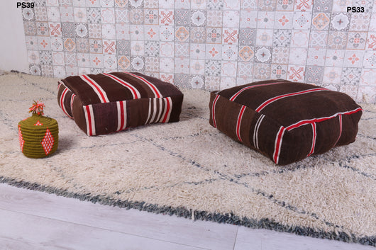 Stylish striped Moroccan kilim pouf