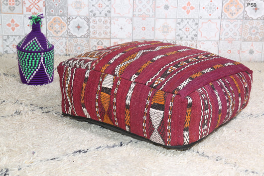 Embroidered red Moroccan kilim pouf