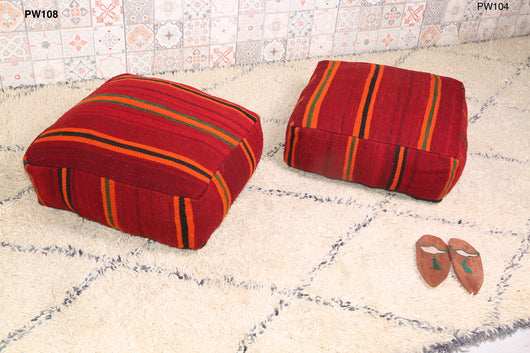 Red practical Moroccan kilim pouf