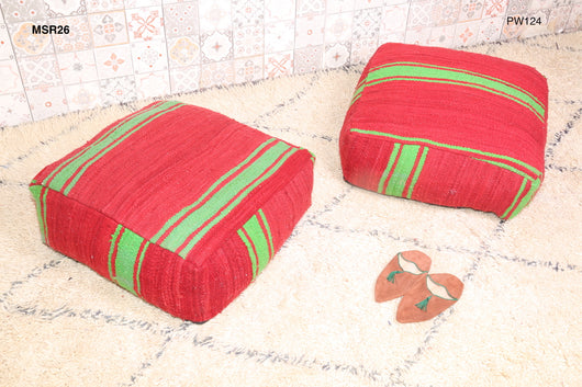 Red Moroccan kilim pouf with green stripes