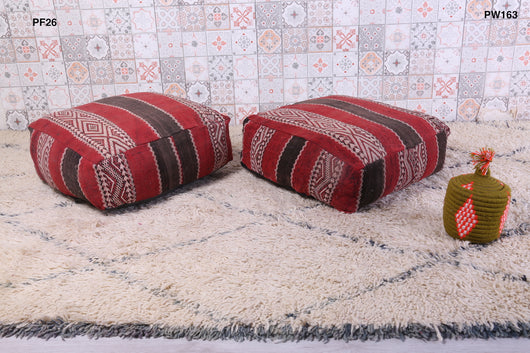 White, red and black Moroccan kilim pouf