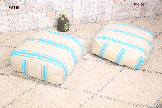 Moroccan kilim pouf, white and mint