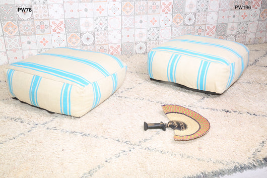 White Moroccan kilim pouf with mint stripes