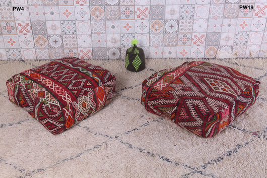 Patterned red Moroccan kilim pouf