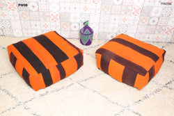 Orange and burgundy Moroccan kilim pouf
