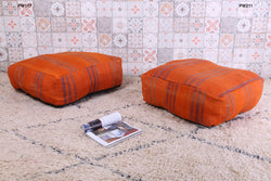 Cozy orange Moroccan kilim pouf