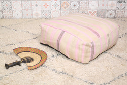 White Handmade Moroccan kilim pouf with pink stripes