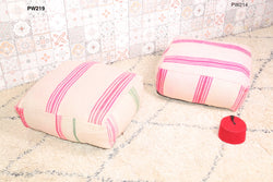 White Moroccan kilim pouf with pink stripes