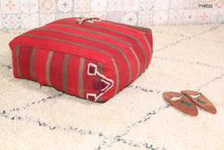 Striking red Moroccan kilim pouf