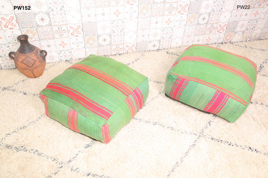 Green and pink Moroccan kilim pouf