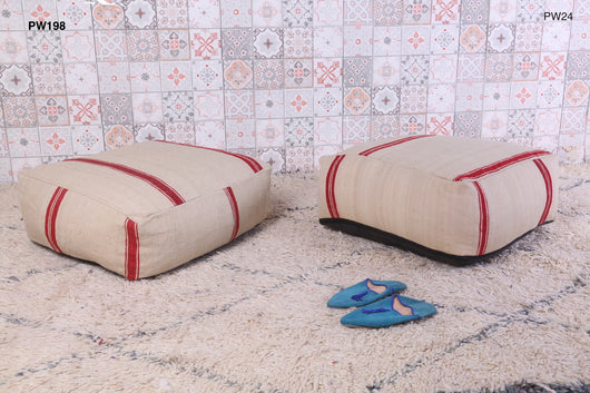White Moroccan kilim pouf with red stripes