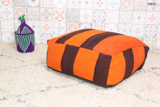 Orange Moroccan kilim pouf with stripes