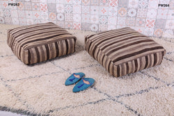 Beige and brown Moroccan kilim pouf