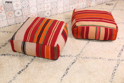 Bright striped Moroccan kilim pouf