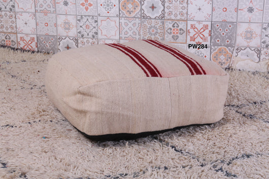 Striped white Moroccan kilim pouf