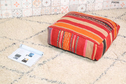 Posh striped Moroccan kilim pouf