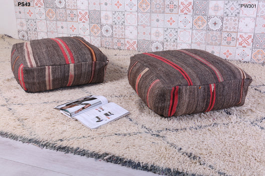 Moroccan kilim pouf in charcoal black