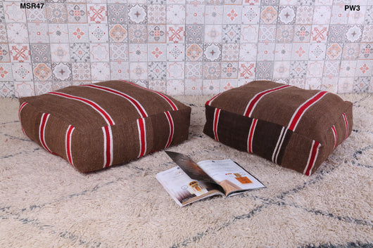 Striped brown Moroccan kilim pouf