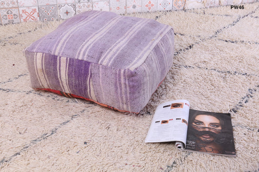 Purple striped Moroccan kilim pouf