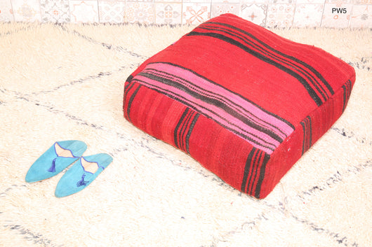 Red striped Moroccan kilim pouf
