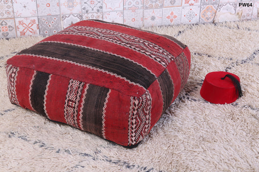 Red, black and white Moroccan kilim pouf