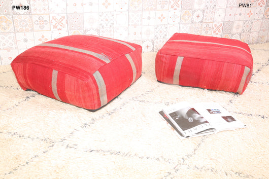 Red Moroccan kilim pouf with stripes