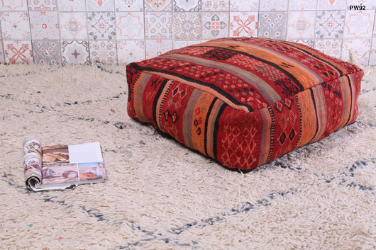 Orange and red Moroccan kilim pouf