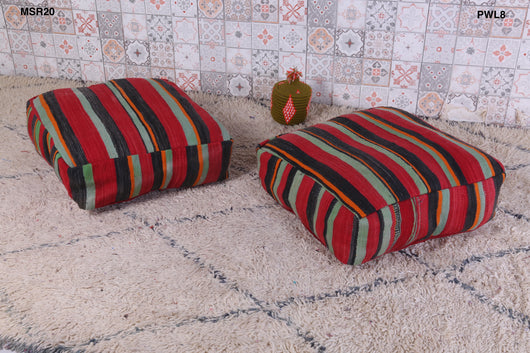 Exotic colorful Moroccan kilim pouf