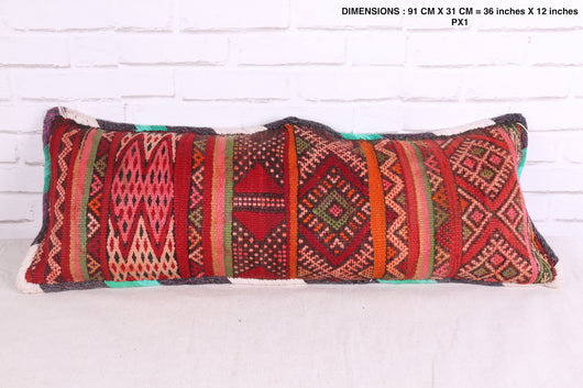 Long, bright Moroccan rug pillow