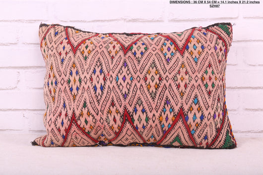 Embroidered Moroccan rug pillow