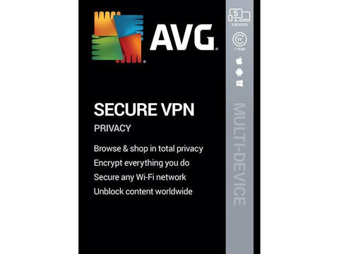 AVG SECURE VPN (5 DEVICES, 1 YEAR) - OFFICIAL WEBSITE - MULTILANGUAGE - WORLDWIDE - PC / ANDROID / MAC / IOS