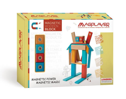 SET MAGNETIC DIN LEMN - 24 PIESE - MAGPLAYER (MPW-24)