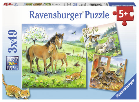 PUZZLE ANIMALE SI PUI, 3X49 PIESE - RAVENSBURGER (RVSPC08029)