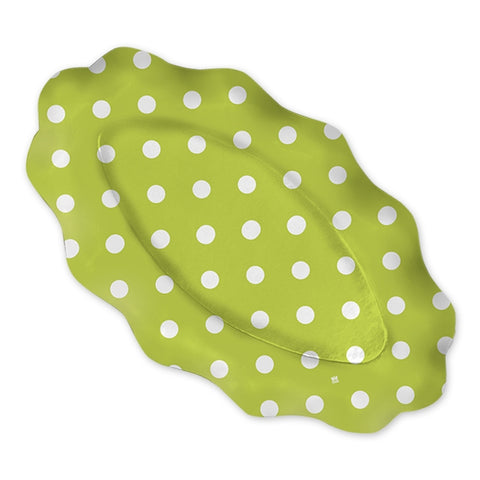 PLATOU OVAL 36 X 20 CM POIS VERDE 3 BUC/SET BIG PARTY (BP61994)