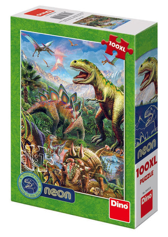 PUZZLE XL - LUMEA DINOZAURILOR NEON (100 PIESE) - DINO TOYS (394155)