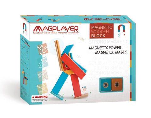 SET MAGNETIC DIN LEMN - 14 PIESE - MAGPLAYER (MPW-14)