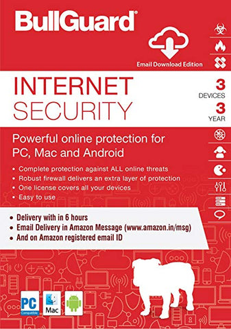 BULLGUARD INTERNET SECURITY (5 DEVICES, 1 YEAR) - OFFICIAL WEBSITE - MULTILANGUAGE - WORLDWIDE - PC / ANDROID / MAC