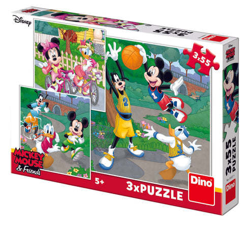 PUZZLE 3 IN 1 - MICKEY SI MINNIE SPORTIVII (55 PIESE) - DINO TOYS (335271)