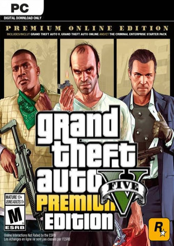 GRAND THEFT AUTO V GTA 5 - PREMIUM ONLINE EDITION - ROCKSTAR SOCIAL CLUB - MULTILANGUAGE - WORLDWIDE - PC