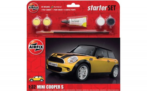 KIT CONSTRUCTIE  MASINA MINI COOPER S STARTER SET - YELLOW 1:32 - AIRFIX (AF55310)