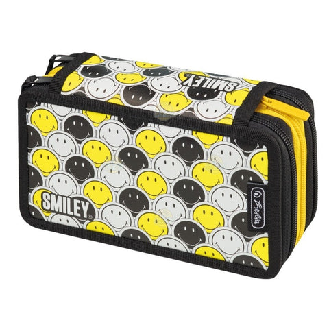 PENAR NEECHIPAT CU 3 COMPARTIMENTE SMILEY BLACK&YELLOW FACES - HERLITZ (50015436)