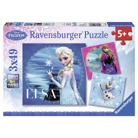 PUZZLE FROZEN ELSA, ANNA SI OLAF, 3X49 PIESE
