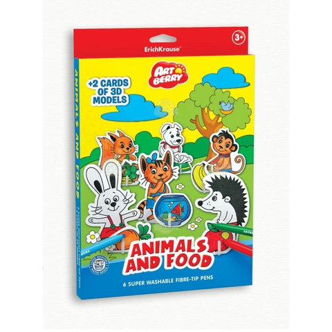 PUZZLE 3D PENTRU COLORAT ART BERRY ANIMALS & FOOD - ERICH KRAUSE (EK37298)