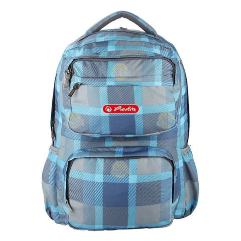 RUCSAC ERGONOMIC HERLITZ FOGGY BLUE CHECKERS  CU COMPARTIMENT LAPTOP - 9479000