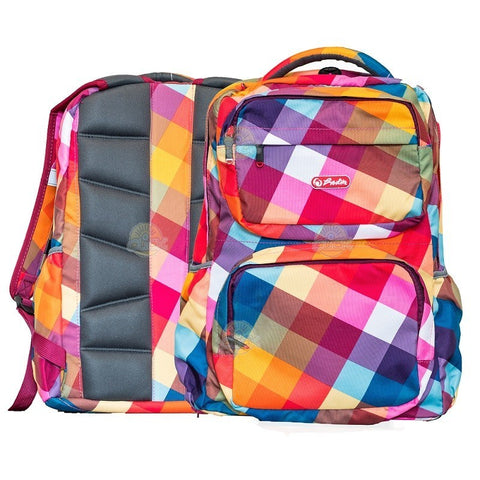RUCSAC ERGONOMIC HERLITZ FOGGY RAINBOW GINGHAM  CU COMPARTIMENT LAPTOP - 9478990