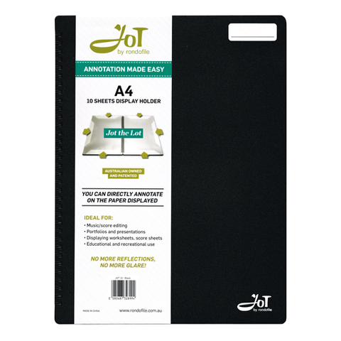 Rondofile Jot - 10 Pages Black - Music Display Folder