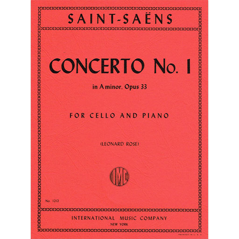 Saint-Saens - Concerto #1 in Amin Op33 - Cello/Piano Accompaniment IMC IMC1212